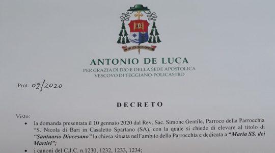 DECRETO SANTUARIO DIOCESANO